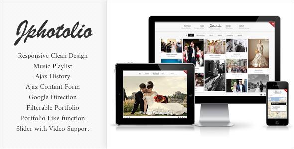 JPhotolio Responsive Wedding Photography Template by jegtheme