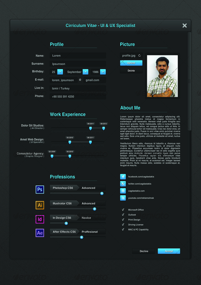 UI Designer Resume by cagdastakis GraphicRiver
