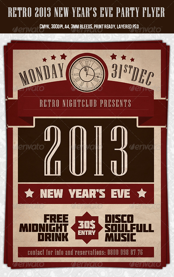Retro 2013 New Year Party Flyer Template by dodimir GraphicRiver