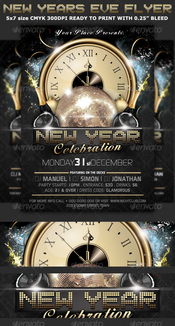 New Years Eve Party Flyer Template by Hotpin GraphicRiver - new years party flyer