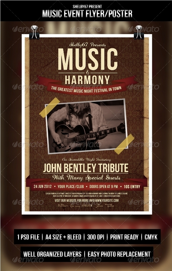 Music Event Flyer Graphics, Designs  Templates