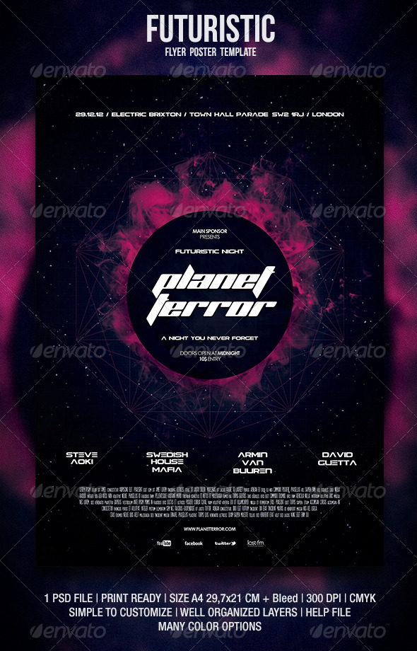 Futuristic Flyer / Poster by BlueMonkeyLab GraphicRiver
