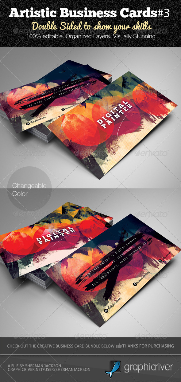 Artistic Business Card#3 PSD Template by ShermanJackson GraphicRiver
