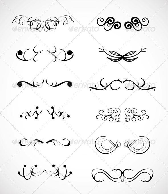 Set of Calligraphic Design Elements by antishock GraphicRiver - calligraphy designs templates