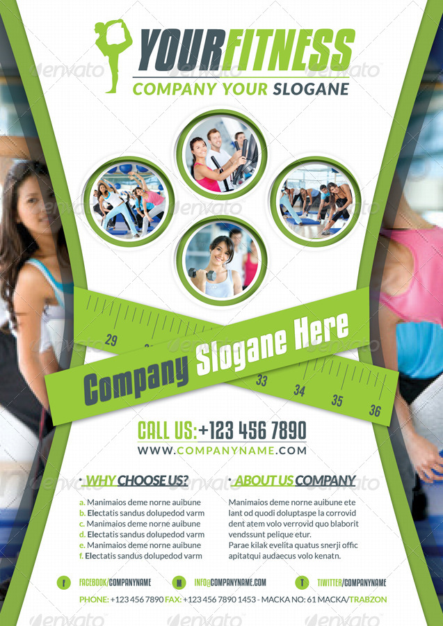 Fitness Salon Business Flyer by grafilker GraphicRiver - fitness flyer