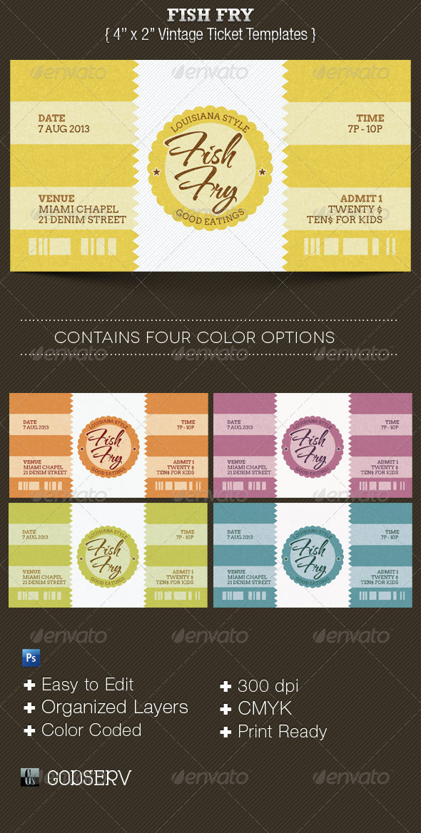 Fish Fry Ticket Template by Godserv GraphicRiver