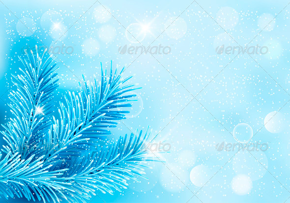 Holiday Blue Background with Tree Branches by almoond GraphicRiver