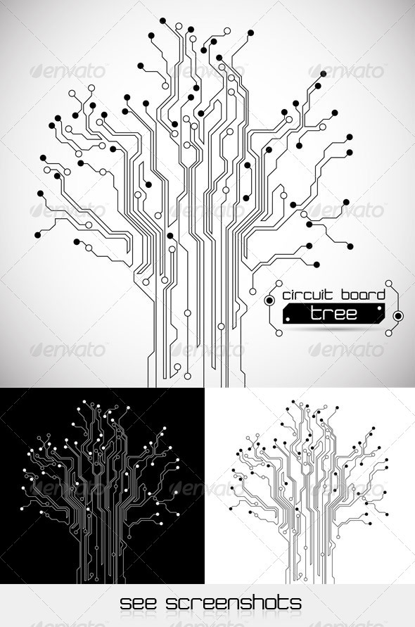 Circuit Board Tree - Abstract Background by silvertiger GraphicRiver