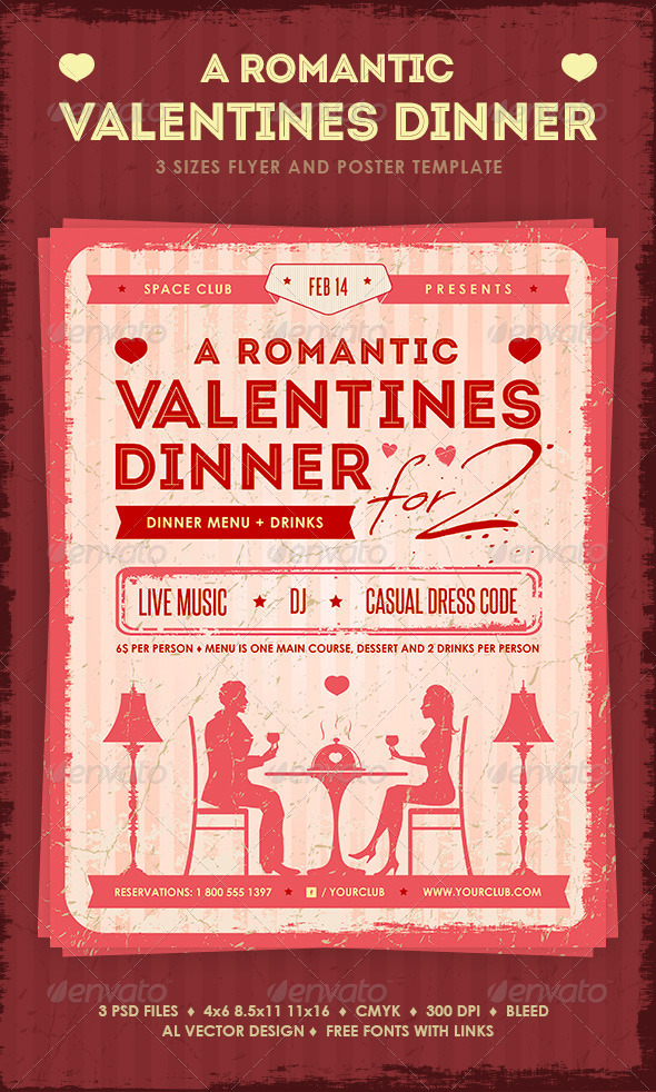 Romantic Valentine\u0027s Dinner Poster and Flyer by mihaai GraphicRiver