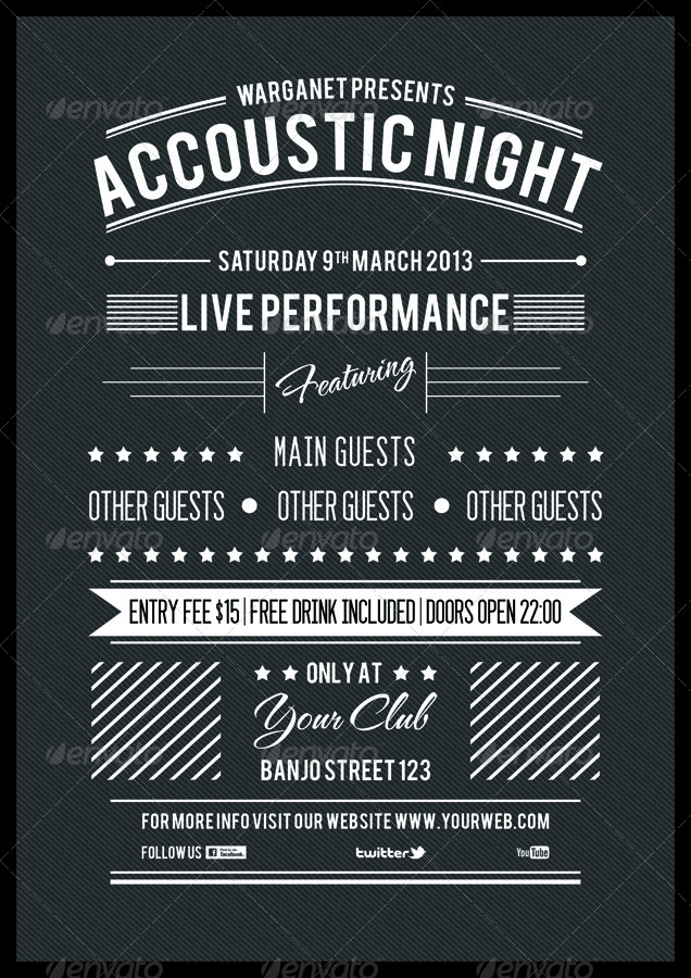 Minimalist Typography Accoustic Flyer by warganet GraphicRiver
