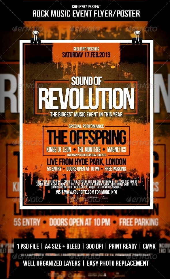 Rock Music Event Flyer / Poster by Shelby67 GraphicRiver - event flyer