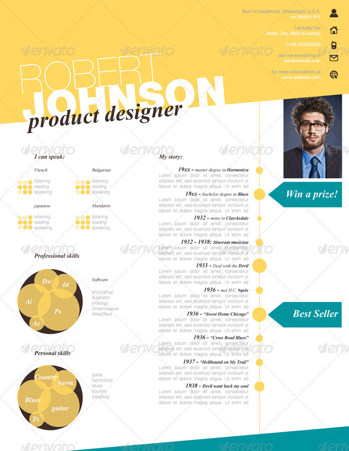 Stylish One Page CV Resume by gianlucacarraro86 GraphicRiver
