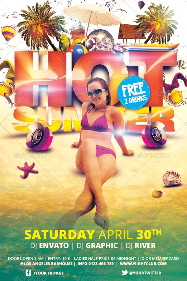 Hot Summer Flyer Template by hermz GraphicRiver - summer flyer template