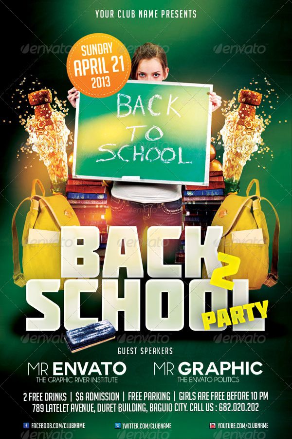 Back To School Party Flyer Template by mikkool GraphicRiver - back to school flyers
