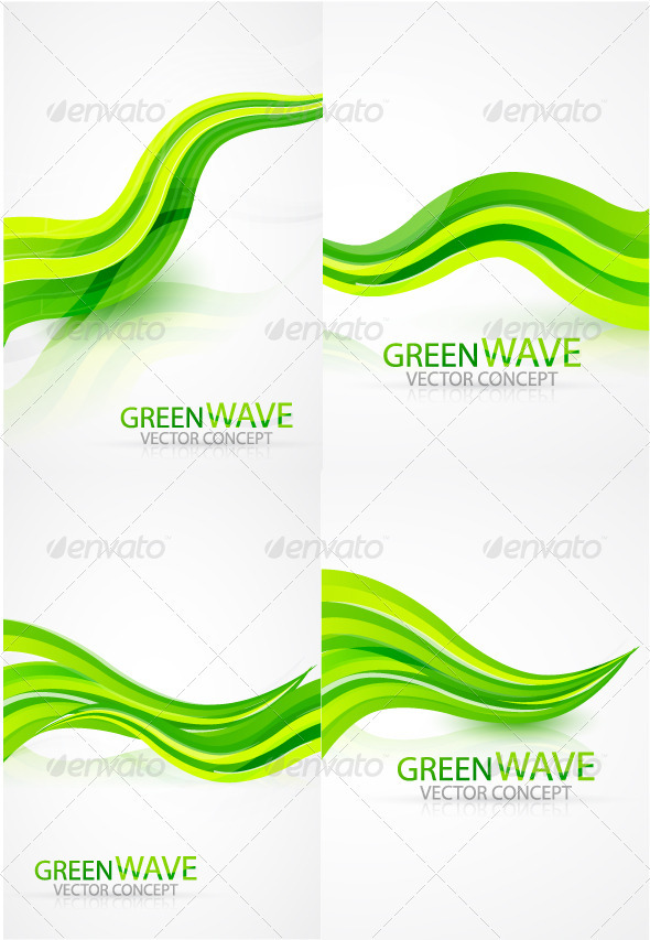 Green waves background by antishock GraphicRiver