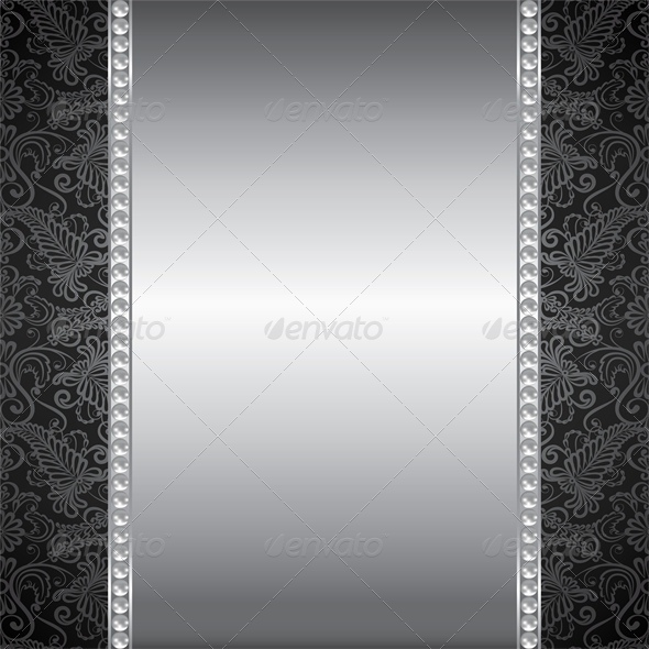 Background with Pearl and Silver Frame by Prikhnenko GraphicRiver - black border background