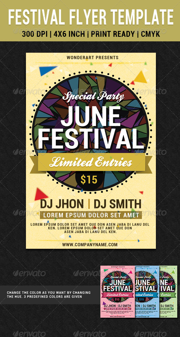June Festival Party Flyer Poster Template by WonderArt GraphicRiver - editable poster templates
