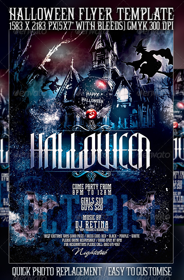 Halloween Flyer Template by Mexelina GraphicRiver - halloween flyer template
