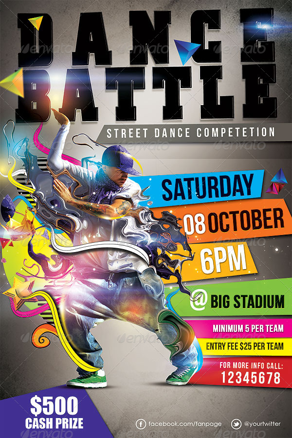 Dance Battle Flyer Template Vol_02 by hermz GraphicRiver - competition flyer template