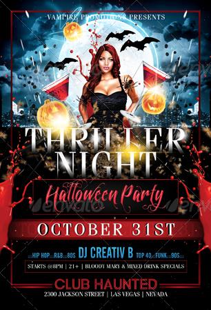 Thriller Night Halloween Flyer Template by CreativB GraphicRiver - halloween flyer template