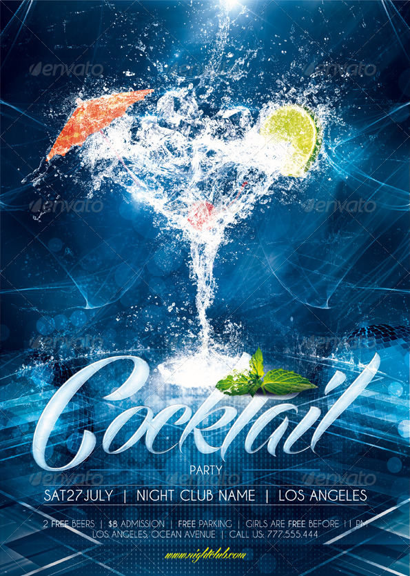 Cocktail Party Poster  Flyer Template by sluap GraphicRiver - party brochure template