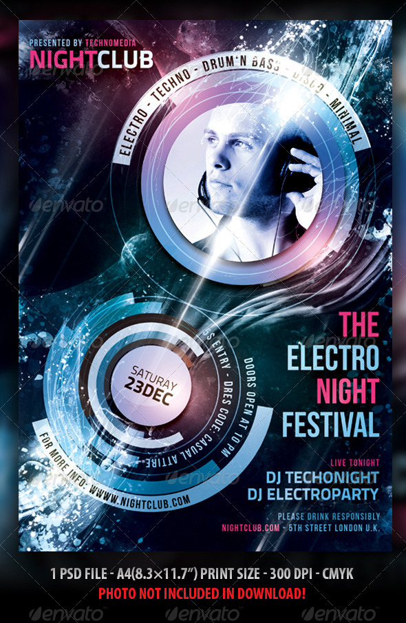 Minimal / Electro Flyer / Poster by Fadeink GraphicRiver - electro flyer