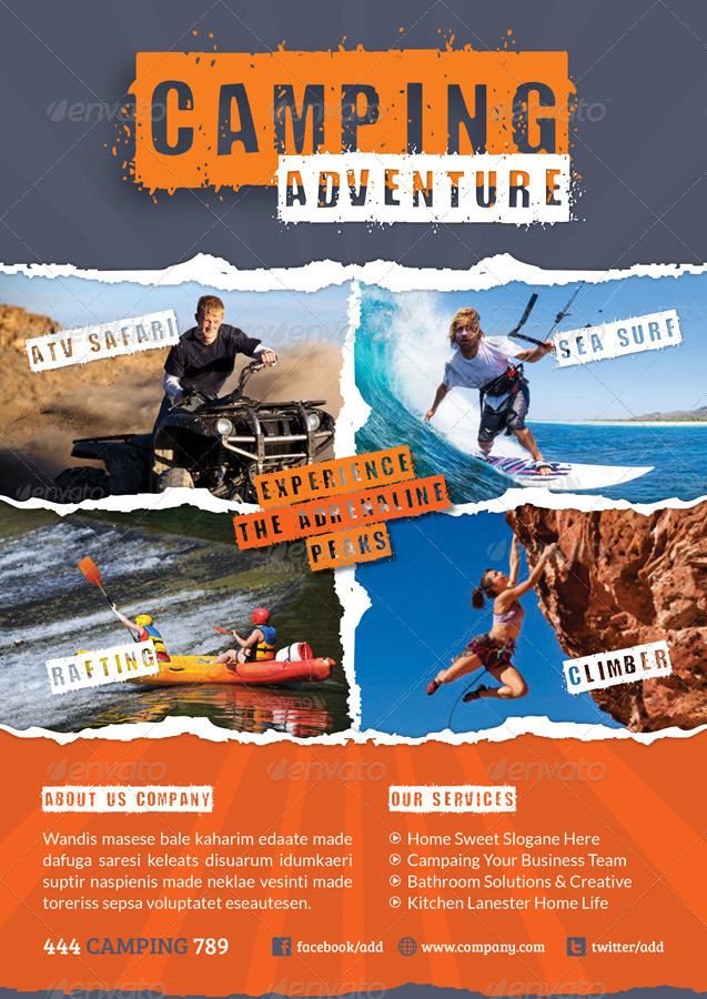 Camping Adventure Flyer Template by grafilker GraphicRiver