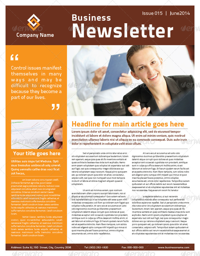 2 Pages Multi-purpose Business Newsletter by mjcreative GraphicRiver - business newsletter
