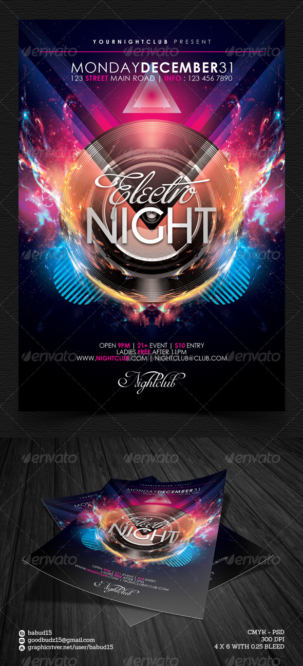Electro Night Flyer Template by angkalimabelas GraphicRiver - electro flyer