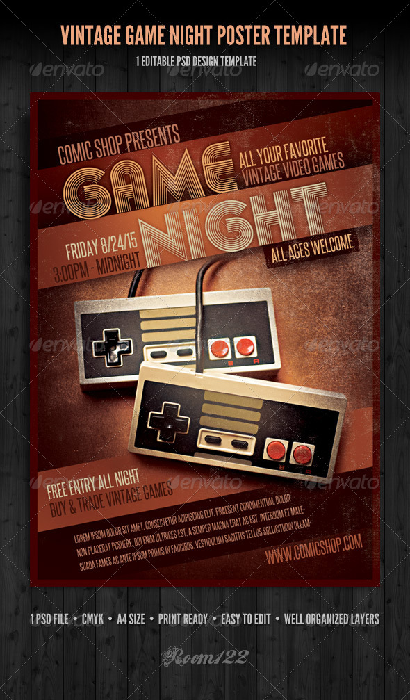 Vintage Game Night Poster Template by GraphicMonkee GraphicRiver - editable poster templates