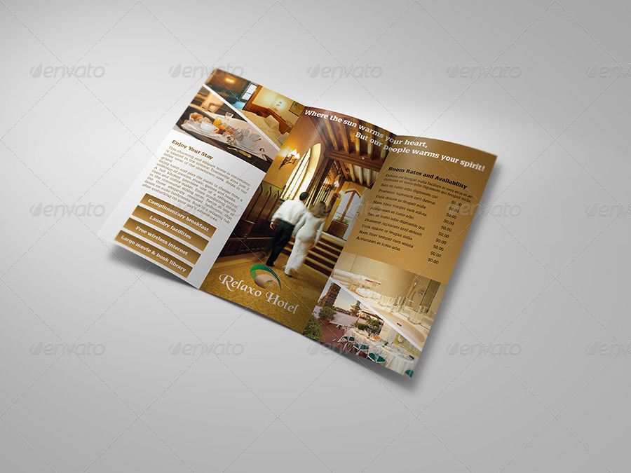 Hotel and Motel Tri-Fold Brochure Template by OWPictures GraphicRiver - hotel brochure template