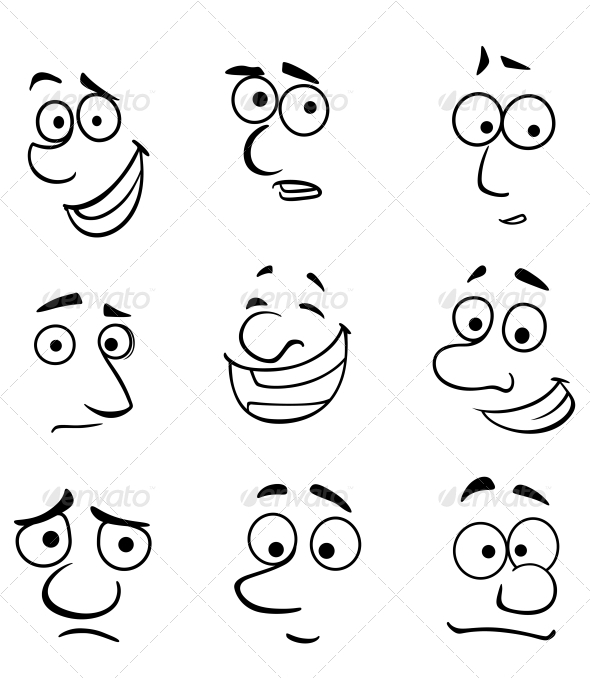 Cartoon Faces with Emotions by VectorTradition GraphicRiver