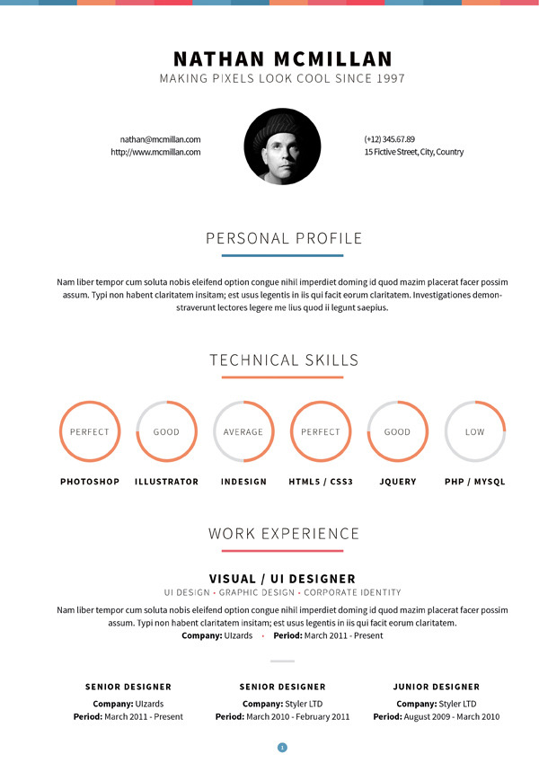Curriculum Responsive Resume / One-Page Portfolio by QBKL ThemeForest - resume one page