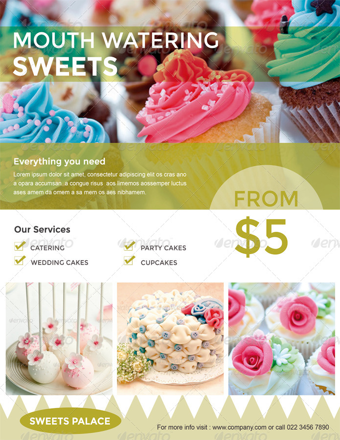 Cupcake / Sweets Flyer by ingridk GraphicRiver