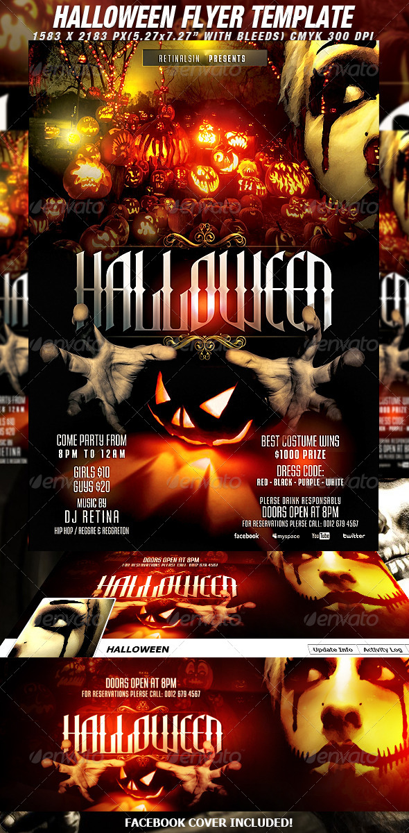 Halloween Flyer Template + Fb Cover by Mexelina GraphicRiver - halloween flyer template