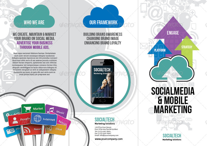 Social Media  Mobile Marketing Trifold Brochure by thinqueber - marketing brochure