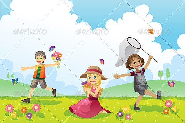 Happy Children in Spring Season by artisticco GraphicRiver