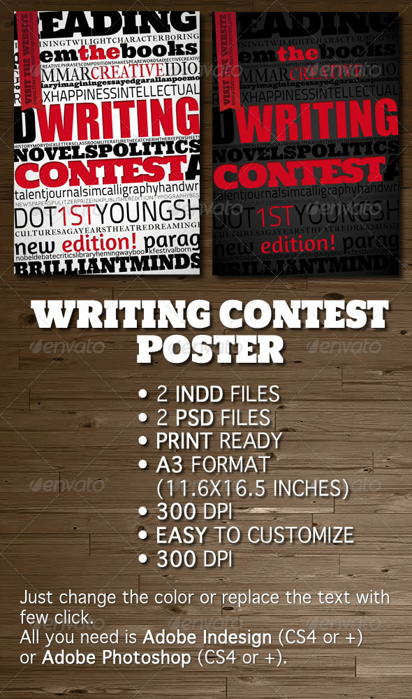 Writing Contest Poster / Flyer by opendept GraphicRiver - competition flyer template