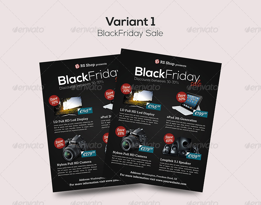 Black Friday Promotion / Sale Flyer Template by overthinking - black flyer template