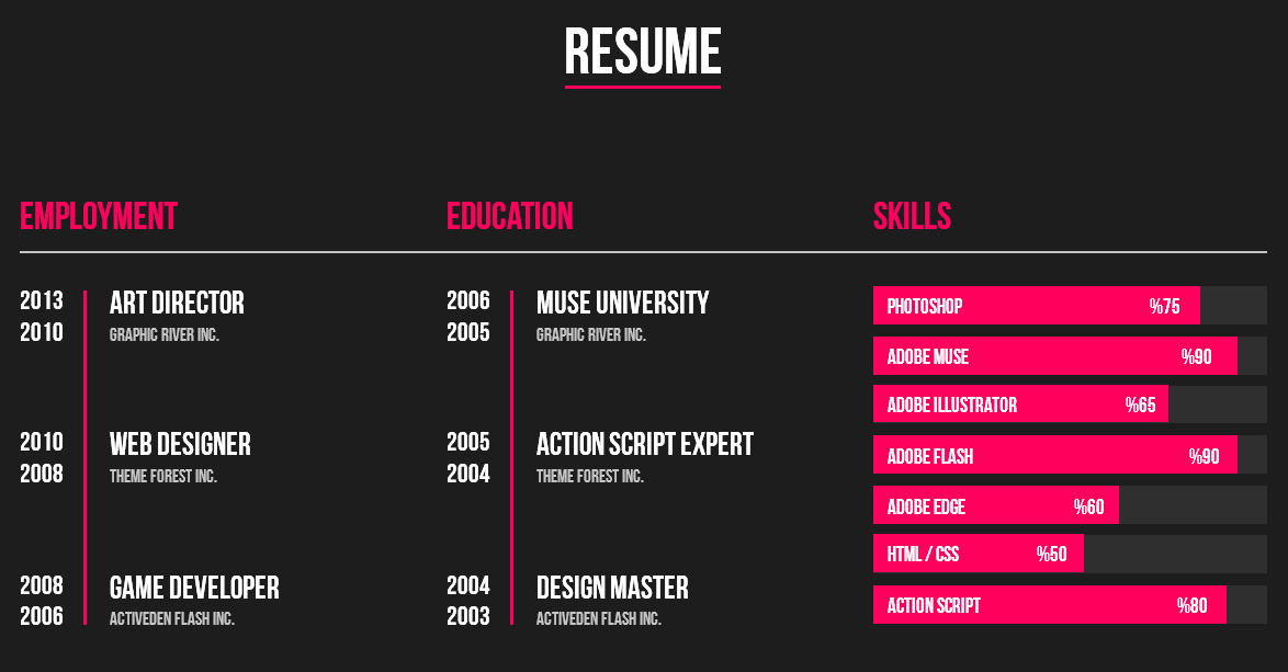 Personal Resume Muse Web Template by barisintepe ThemeForest - web resume