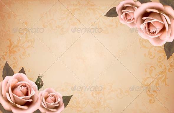 Pink Roses on a Vintage Old Paper Background by almoond GraphicRiver - powerpoint backgrounds vintage