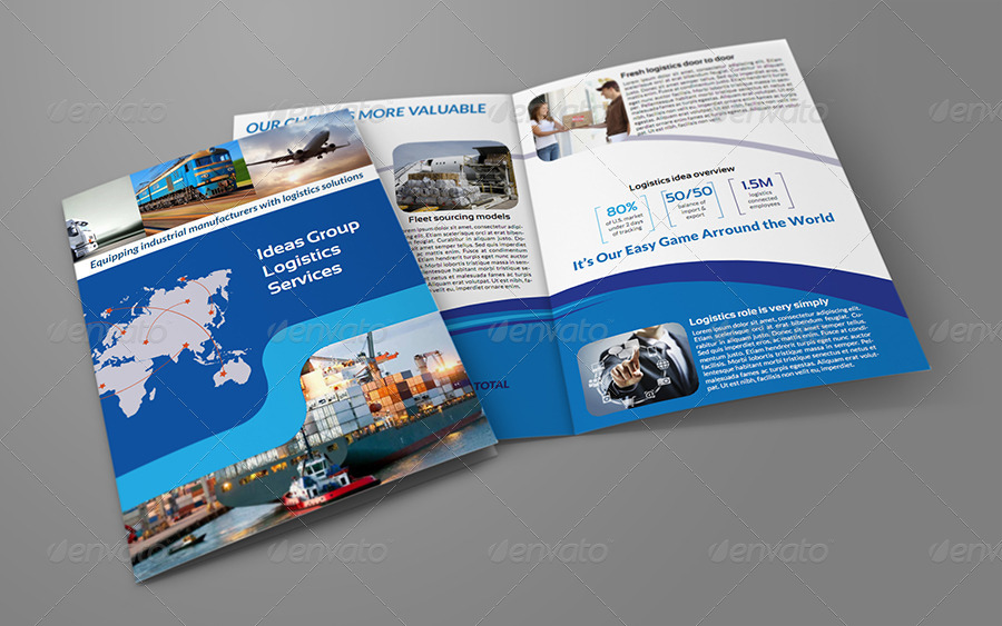 Logistics Services Bi Fold Brochure Template by OWPictures - services brochure