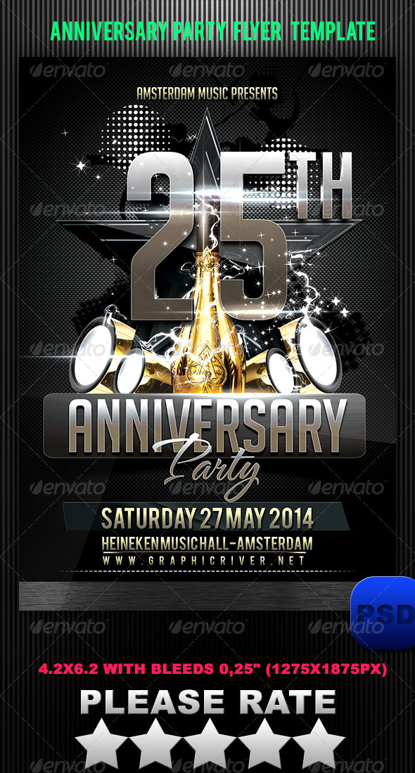 Anniversary Party Flyer Template by Stormclub GraphicRiver