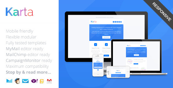 Karta, Minimalist Responsive Email Template by saputrad ThemeForest - free responsive email template
