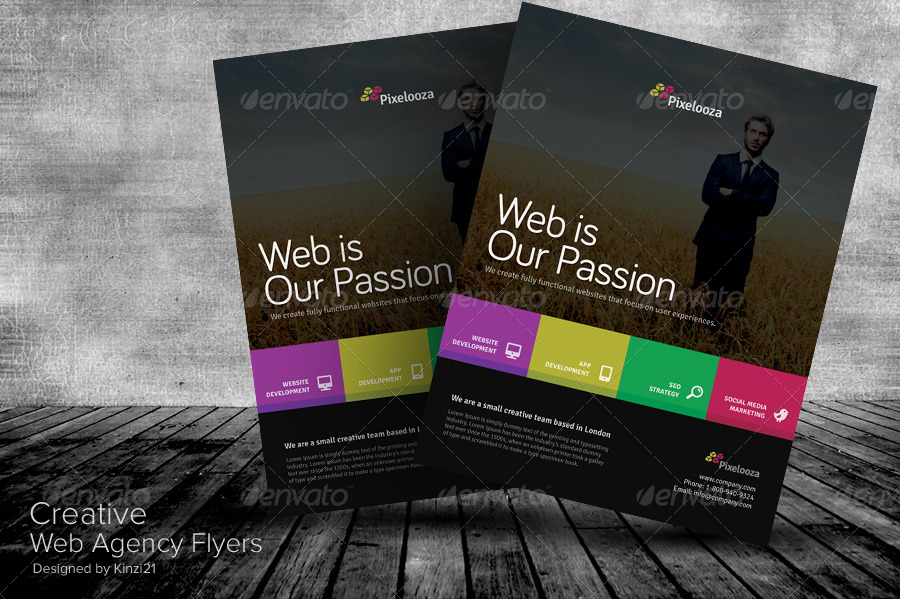 Creative Web Agency Flyers by kinzi21 GraphicRiver - web flyer