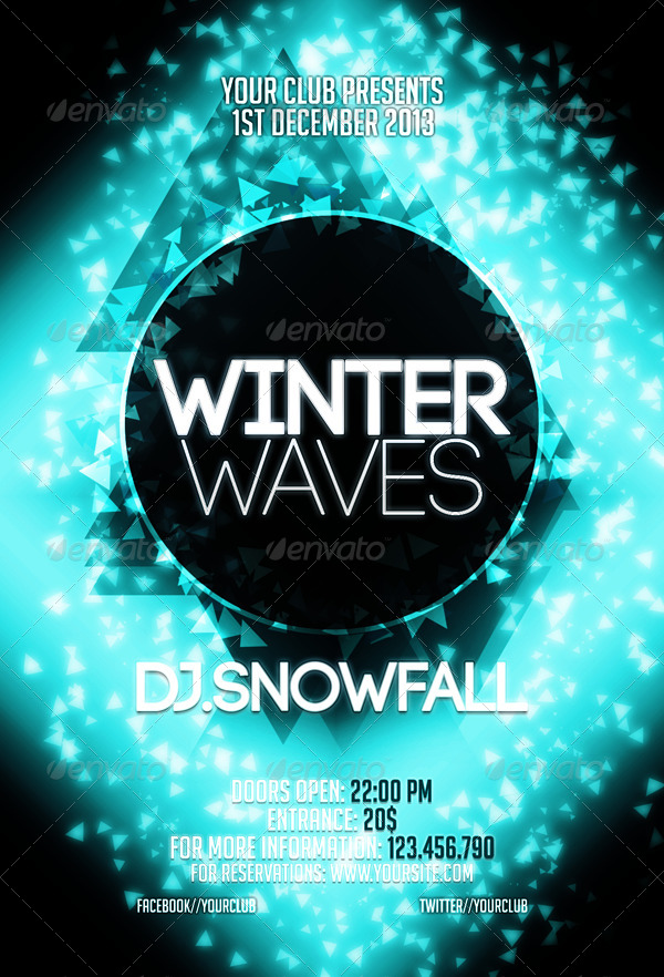 Winter Waves Flyer Template by CRIScx22 GraphicRiver - winter flyer template