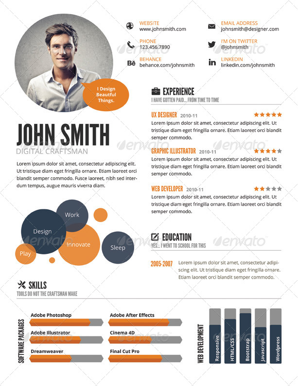 InfoGraphic Style Resume Template by GraphicMonkee GraphicRiver - infographic resumes