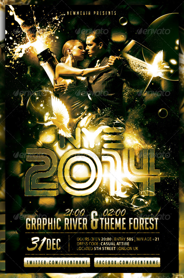 Champagne / New Year Eve Party Flyer / Poster by Fadeink GraphicRiver - new years party flyer