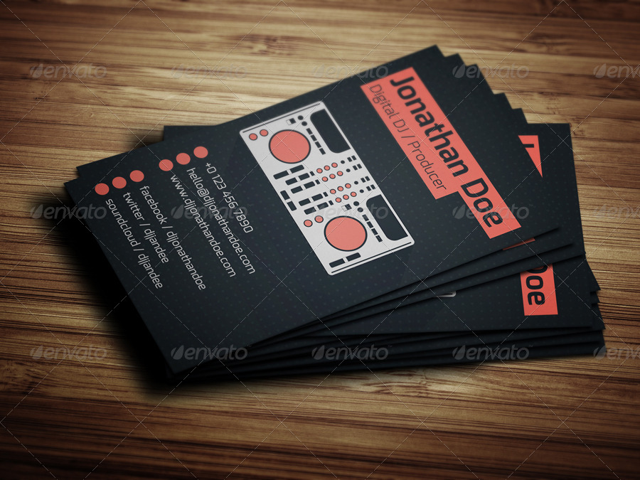 Flat Digital DJ Business Card by vinyljunkie GraphicRiver