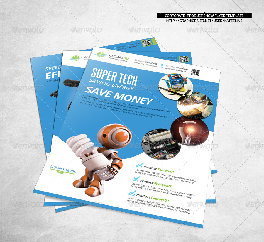 Product Showcase Corporate Flyer by katzeline GraphicRiver - product flyer